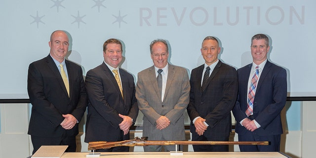 The Christian Oerter rifle made in 1755 seen on display Friday, Nov.1, 2019 at Philadelphia's Museum of the American Revolution