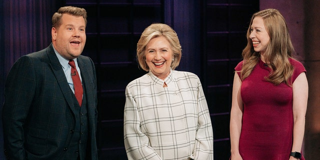 The Late Late Show with James Corden airing Tuesday, November 5, 2019, with guests Hillary Clinton and Chelsea Clinton. Photo: Terence Patrick/CBS ©2019 CBS Broadcasting, Inc. All Rights Reserved