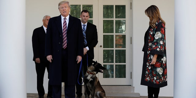 "President Trump called Conan, pictured here at the White House on Nov. 25, an ""incredible"" dog after he helped take down ISIS leader Abu Bakr al-Baghdadi."