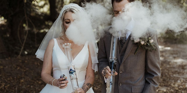 The couple's incorporation of cannabis into their photos was well received on social media.