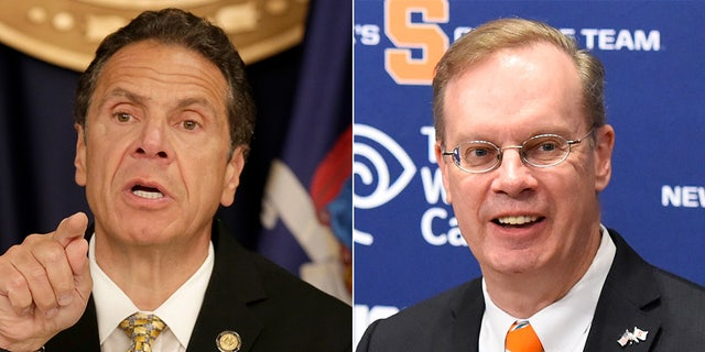 Gov. Andrew Cuomo, left, and Syracuse University Chancellor Kent Syverud.