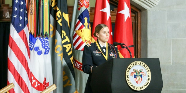 Capt. Lindsay Gordon Heisler, USMA Class of 2012, receives the 2019 Nininger Award, presented by the West Point Association of Graduates, this week. Heisler received the award for her actions on Dec. 5, 2015, when she was deployed in Afghanistan. (U.S. Army photo by Brandon O'Connor)