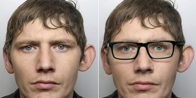 David Springthorpe, 30, apparently thought he could fool police by changing up his look with a pair of glasses.