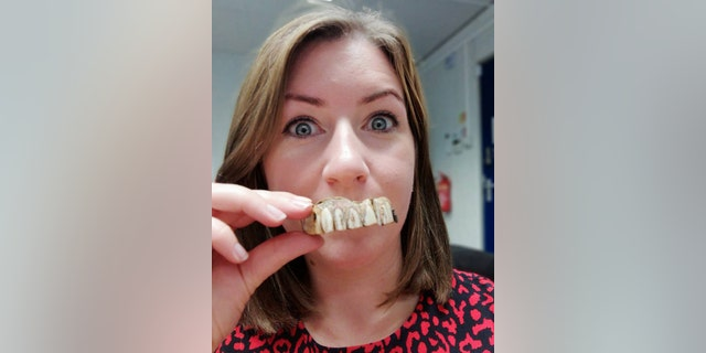 Hansons Valuer Isabel Murtough with the dentures.