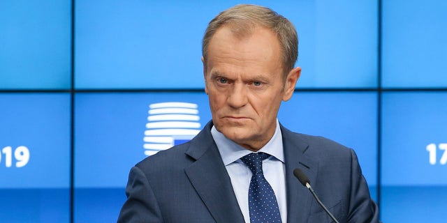 President of the European Council Donald Tusk speaking during a press conference in October Brussels Belgium.