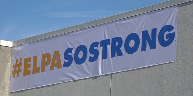 "Walmart unveiled an ""El Paso Strong"" banner before customers were allowed into its store where a gunman killed and injured dozens on Aug. 3. (Fox News/Charles Watson)"