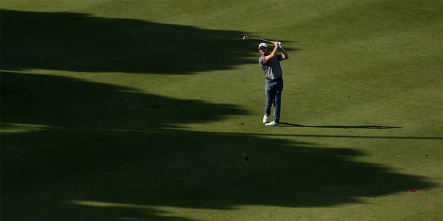 Eddie Pepperell of England plays his third shot on the 18th hole during the second round of the Turkish Airlines Open at The Montgomerie Maxx Royal in Antalya, Turkey. on Friday. (Photo by Jan Kruger/Getty Images)