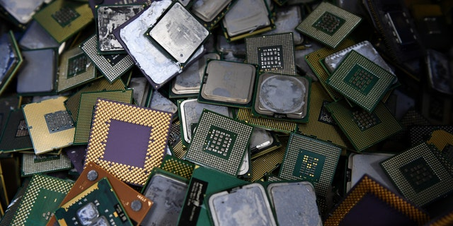 This photo shows on January 19, 2017, removed computer CPUs (central processing units) at the Tokyo Eco Recycle company in Tokyo - file photo.