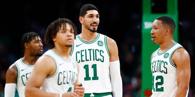 Enes Kanter #11 of the Boston Celtics reacts during the third quarter of the game against the Charlotte Hornets at TD Garden on October 06, 2019 in Boston, Massachusetts.