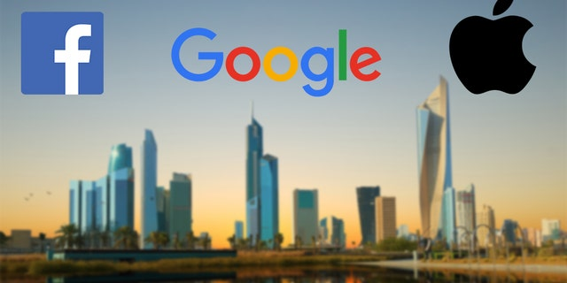 Photo illustration - the logos of Facebook, Google and Apple and the skyline of Kuwait City. (iStock)