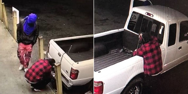 After ripping the doors off the convenience store and then being unable to enter the office, one of the crooks walked out with a 12-pack of soda.