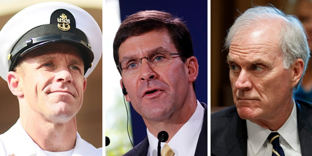 Defense Secretary Mark Esper (center) fired Navy Secretary Richard Spencer (right) Sunday over his mishandling of the highly controversial war crimes case involving Navy SEAL Eddie Gallagher.
