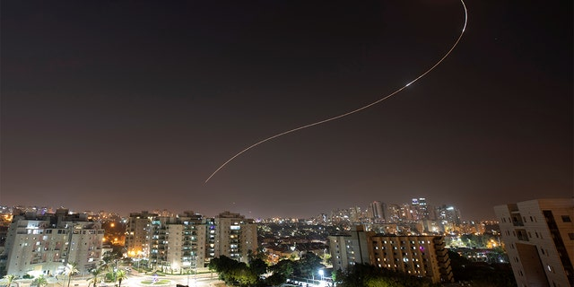An Iron Dome anti-missile system fires interception missiles as rockets are launched from Gaza toward Israel, as seen from the city of Ashkelon, Israel, Nov. 13, 2019. (REUTERS/ Amir Cohen)