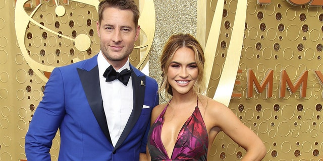Justin Hartley and Chrishell Stause attend the 71st Emmy Awards at Microsoft Theater.