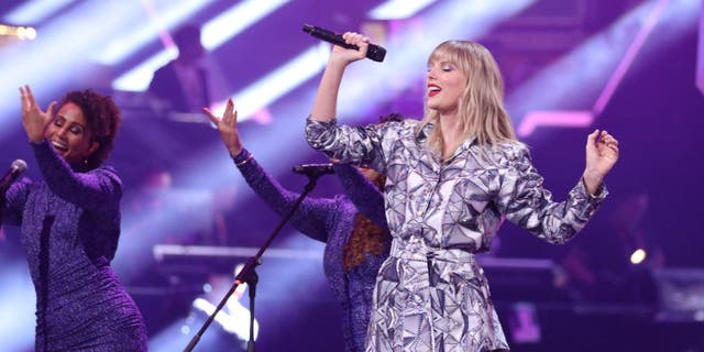 Singer Taylor Swift performs on the stage during the gala of 2019 Alibaba 11.11 Global Shopping Festival at Mercedes-Benz Arena on November 10, 2019 in Shanghai, China.