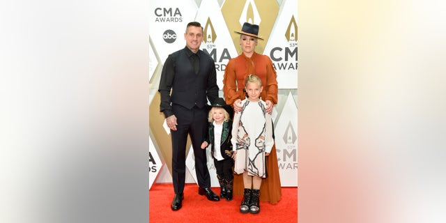 Jameson Hart, Willow Hart, P!nk and Carey Hart attend the 53rd annual CMA Awards at the Music City Center on Wednesday in Nashville. (Photo by John Shearer/WireImage,)