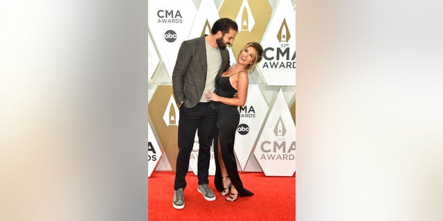 Eric Decker and Jessie James Decker on the red carpet of the 53rd Annual CMA Awards in Nashville, Tenn. (Photo by John Shearer/WireImage,)