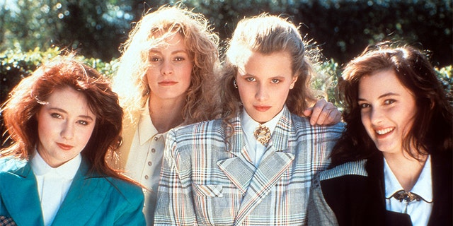 From left to right: Shannen Doherty, Lisanne Falk, Kim Walker and Winona Ryder on set of the film 'Heathers', 1988.