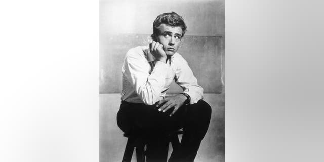 "Portrait of American actor James Dean (1931-1955) on the set of director Elia Kazan's film, ""East of Eden."""