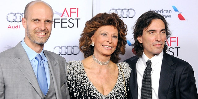 Director/actor Edoardo Ponti, actress Sophia Loren and conductor Carlo Ponti Jr. arrive at AFI FEST 2014 Presented By Audi - A Special Tribute To Sophia Loren at Dolby Theatre on November 12, 2014, in Hollywood.