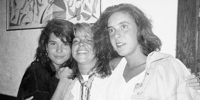 Jennifer Levin (right), the victim in a Central Park strangulation, is seen with two of her girlfriends, Larissa Thomson (left) and Laura Robertson in Dorrian's Red Hand Restaurant just hours before she was killed on August 26, 1986. The photo, taken by another friend, was released on February 18, 1988, during the murder trial of Robert Chambers, who is charged with Levin's murder.