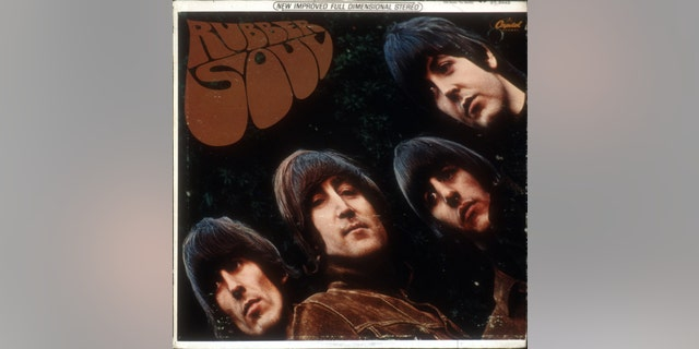 "Album cover for rock and roll band ""The Beatles"" album entitled ""Rubber Soul"" which was released on December 3, 1965. (L-R) George Harrison, John Lennon, Ringo Starr, Paul McCartney(Clockwise from bottom left) George Harrison, Paul McCartney, John Lennon, Ringo Starr. Photographed by Freeman."