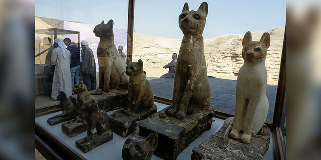 Cat statues that were found inside a cache, at the Saqqara area near its necropolis, are pictured in Giza, Egypt, Saturday. (REUTERS/Hayam Adel)