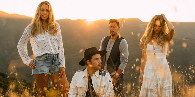 Country-rock band, Gone West, pictured, is comprised of Colbie Caillat, left, Jason Reeves and Justin Young, center, and Nelly Joy, right.