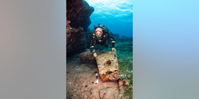 A diver with a stone pyramid anchor at the shipwreck site (photo by F. Kvalo)