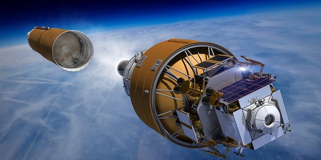 Boeing's Human Lander System heads into orbit on the strength of a Space Launch System rocket in this artist concept. The mission architecture calls for sending the integrated lander into orbit where it will rendezvous with astronauts aboard Orion or the Gateway before taking the crew to the lunar surface. (Credit: Boeing)
