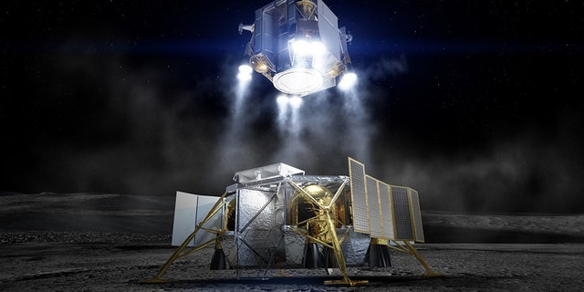 Following exploration of the lunar surface by astronauts, the crew lifts off from the moon inside the Ascent Element in this artist concept. The Descent Element remains on the moon having already performed its role of flying the crew from lunar orbit to the surface. (Credit: Boeing)
