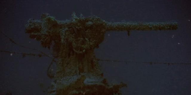 HMS Urge's deck gun.