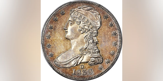 The front of the 1838-O Capped Bust half-dollar coin.