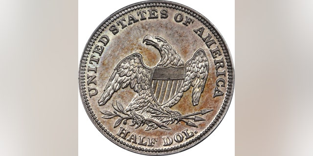 The back of the 1838-O Capped Bust Half Dollar coin.