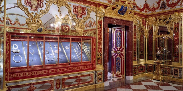 This undated photo provided by the State Art Collection in Dresden on Monday, Nov. 25, 2019, shows the Jewellery Room of the Green Vault with the display cases, left, showing the part of the collection that was affected by the robbery early Monday, Nov. 25, 2019 morning in Dresden. (Staatliche Kunstsammlungen Dresden/David Brandt via AP)