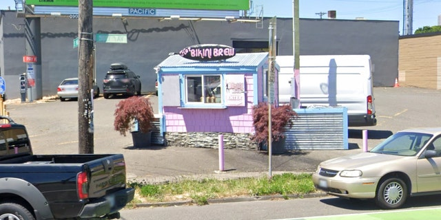 A bikini-barista coffee stand in Portland, Ore., pictured, has abruptly disappeared just days after the owners got into a fight with a pair of cyclists just outside of the shop.