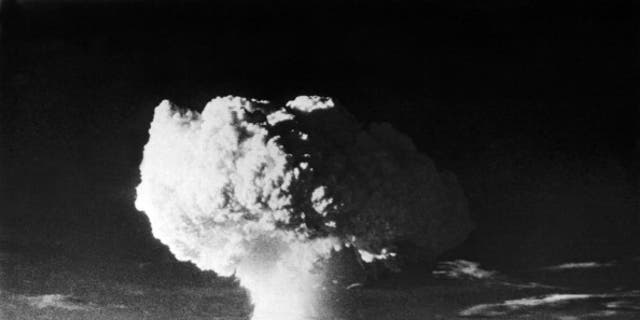 View of a cloud plume after the nuclear detonation codenamed Mike, Enewetak, Marshall Islands, November 1, 1952. The detonation, the first of two in 'Operation Ivy,' was also the first successful hydrogen bomb. (Photo by Underwood Archives/Getty Images)