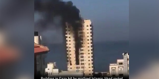 In a tweet on Wednesday the IDF posted a photo of a building in Gaza that the Israeli military said was hit by a misfired Islamic Jihad rocket.