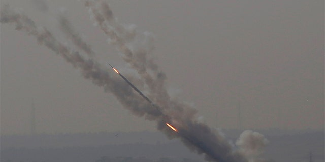Rockets are launched from the Gaza Strip into Israel Tuesday.