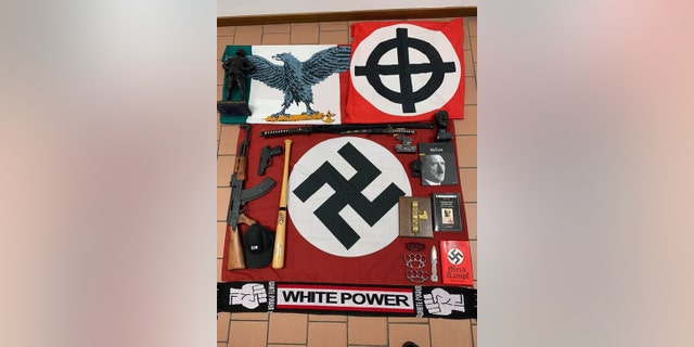 Nazi flags, books and other paraphernalia were among the items seized.