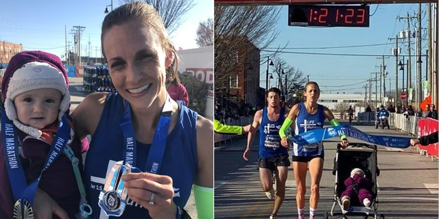Julia Webb set the world record for a half marathon pushing a stroller Sunday in the Route 66 Marathon in Tulsa, Oklahoma.