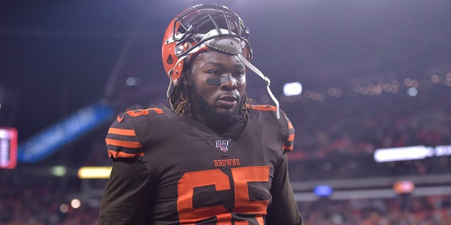 File-This Nov. 14, 2019 file photo shows Cleveland Browns defensive tackle Larry Ogunjobi walking off the field after he was ejected late in the fourth quarter of an NFL football game against the Pittsburgh Steelers in Cleveland. (AP Photo/David Richard, File)