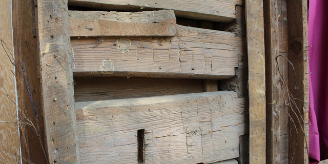 The cabin is made from hand-hewn timbers, according to the Nevada County Depot & Museum. (Nevada County Depot and Museum)
