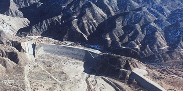 The Mojave River Dam, pictured in this undated photo, was built in the 1970s near the San Bernardino Mountains. Officials said Friday the dam could fail during an extreme storm, causing flooding in Mojave Desert communities.