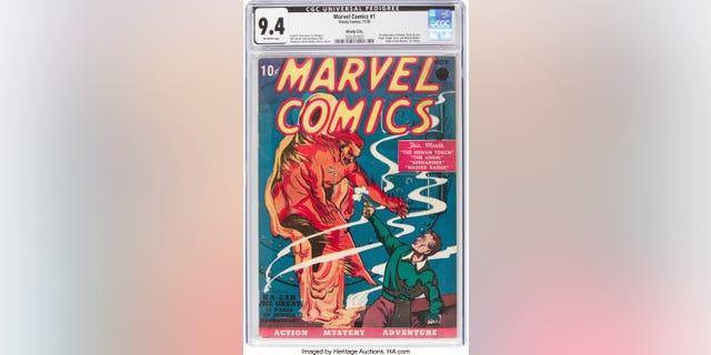 This Oct. 8, 2019 image provided by Heritage Auctions shows a rare near mint condition copy of the first Marvel Comics comic book. Heritage Auctions says the 1939 comic book sold for $1,260,000 million on Thursday Nov. 21, 2019. (Heritage Auctions via AP)