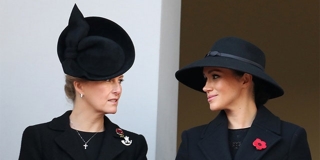 Sophie, Countess of Wessex and Meghan, Duchess of Sussex, attends the annual commemoration on 10th November 2019 in London, England , part.