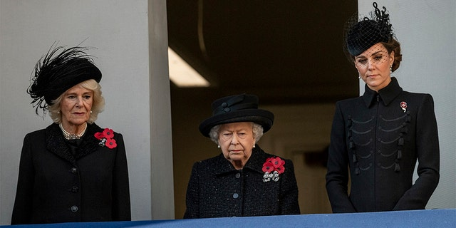 Queen Elizabeth II. With Camilla, Duchess of Cornwall, and Catherine, Duchess of Cambridge, attend the annual memorial Sunday at the Cenotaph in London on November 10, 2019.