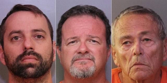 US News Mugshots for Brett Kinney, 40, Donald Durr Jr., 52, and William Hage, 76.