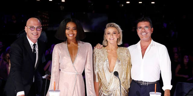 "Pictured: (l-r) ""America's Got Talent"" judges, Howie Mandel, Gabrielle Union, Julianne Hough, Simon Cowell (Photo by: Trae Patton/NBC)"