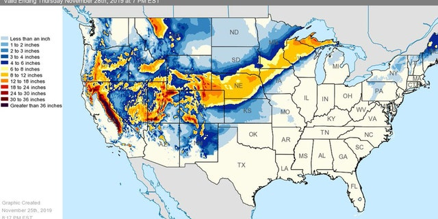 Two winter storms were expected to bring heavy snow, wind and rain to much of the country this week, officials said.